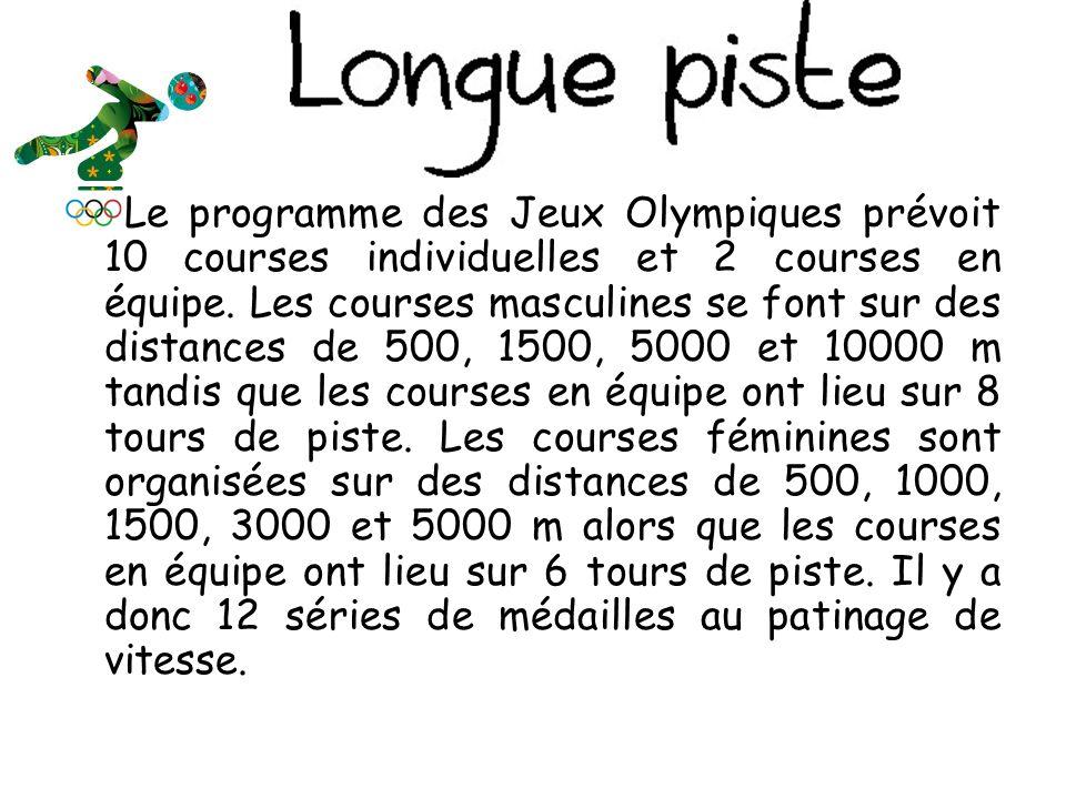 Le programme des Jeux Olympiques prévoit 10 courses individuelles et 2 courses en équipe.