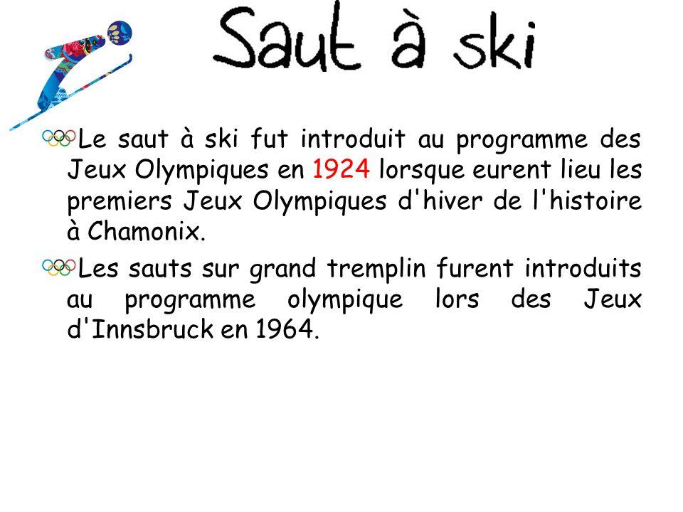 Le saut à ski fut introduit au programme des Jeux Olympiques en 1924 lorsque eurent lieu les premiers Jeux Olympiques d hiver de l histoire à Chamonix.