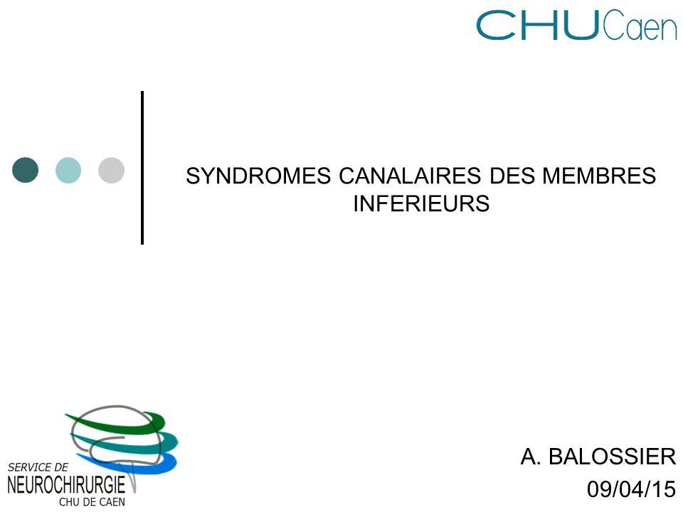 SYNDROMES CANALAIRES DES MEMBRES INFERIEURS