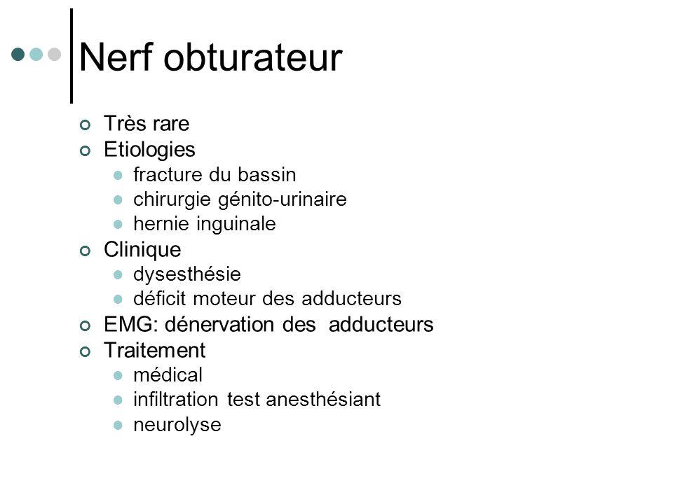 Nerf obturateur Très rare Etiologies Clinique