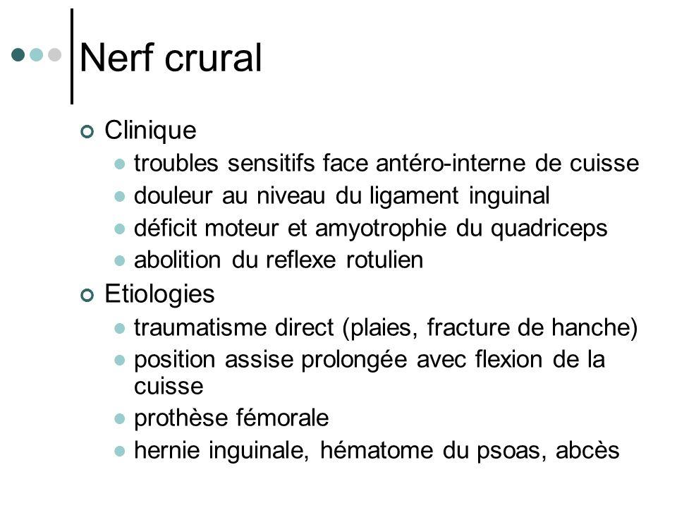 Nerf crural Clinique Etiologies
