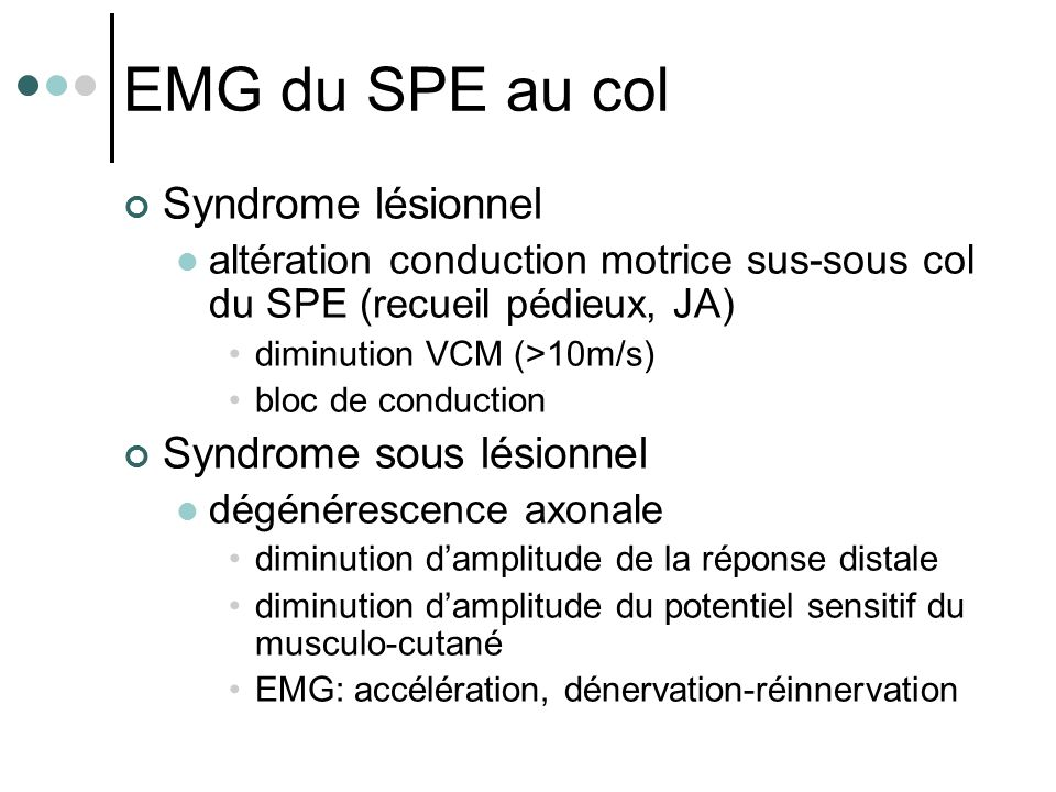 EMG du SPE au col Syndrome lésionnel Syndrome sous lésionnel