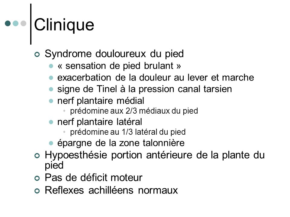 Clinique Syndrome douloureux du pied