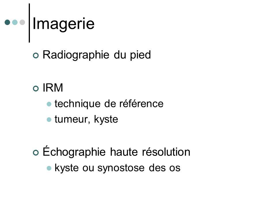 Imagerie Radiographie du pied IRM Échographie haute résolution