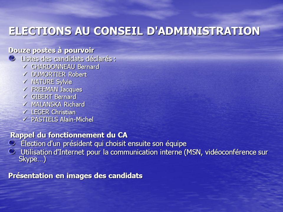 ELECTIONS AU CONSEIL D ADMINISTRATION