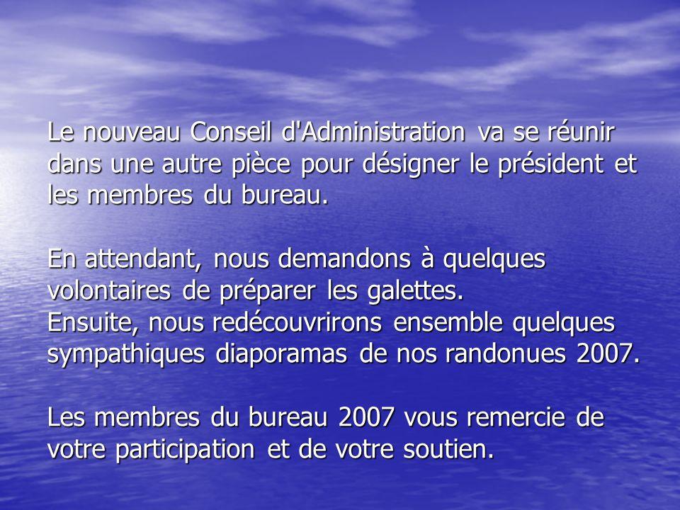 Le nouveau Conseil d Administration va se réunir dans une autre pièce pour désigner le président et les membres du bureau.