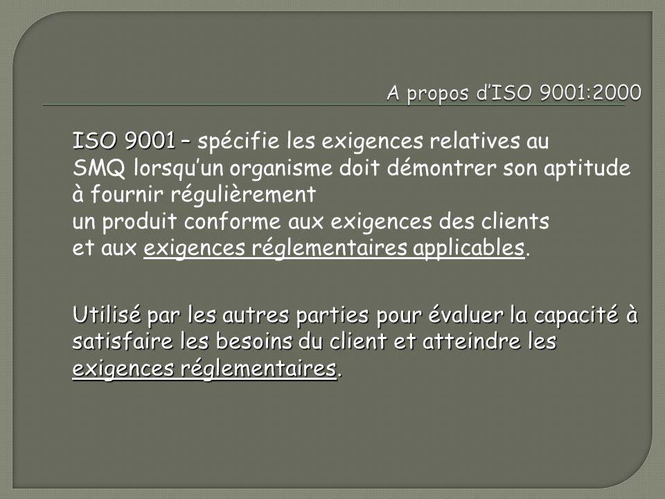 ISO 9001 – spécifie les exigences relatives au