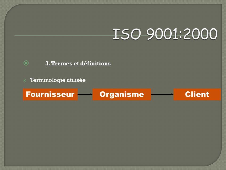 ISO 9001:2000 3. Termes et définitions Fournisseur Organisme Client