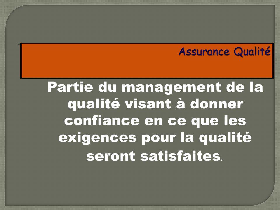 Assurance Qualité Partie du management de la qualité visant à donner confiance en ce que les exigences pour la qualité seront satisfaites.