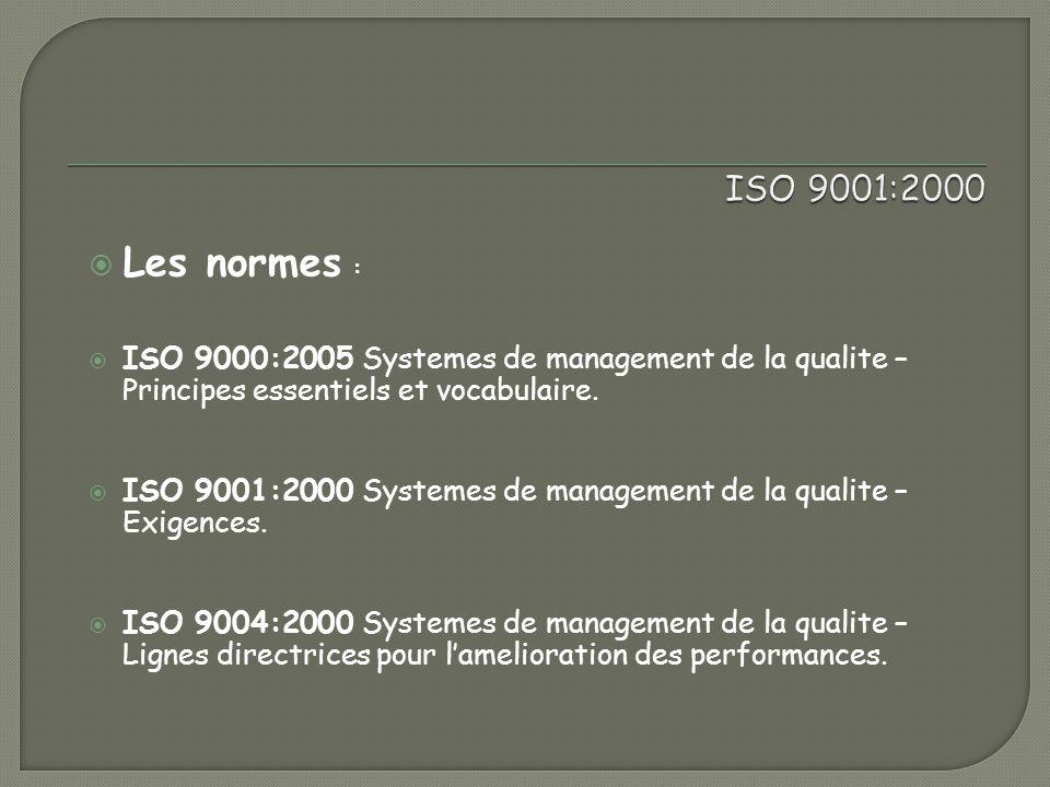 ISO 9001:2000 Les normes : ISO 9000:2005 Systemes de management de la qualite – Principes essentiels et vocabulaire.