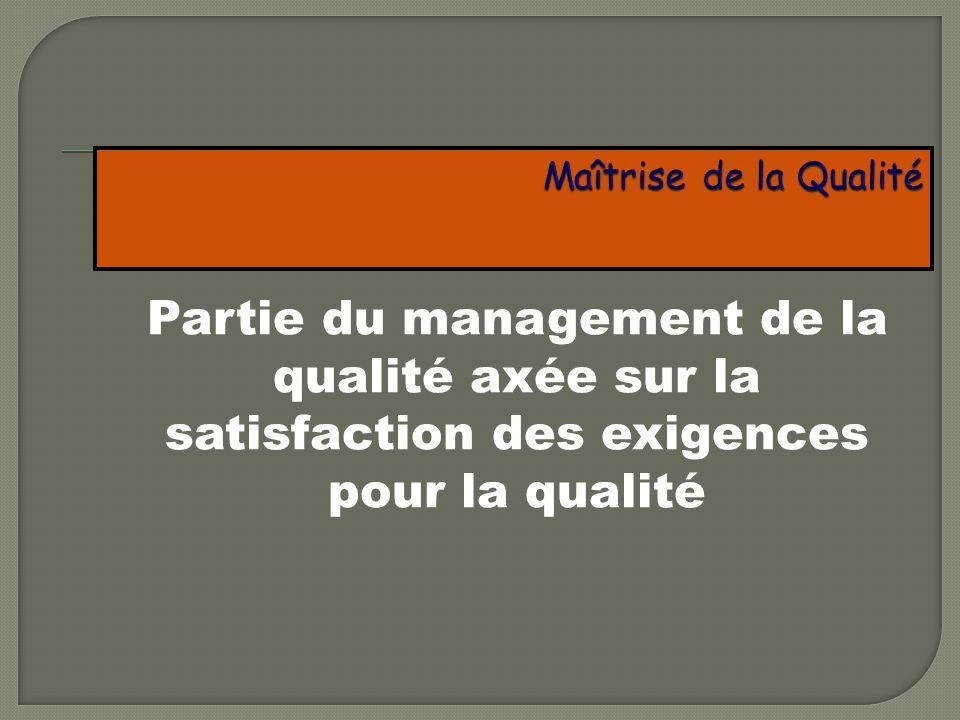 Maîtrise de la Qualité Partie du management de la qualité axée sur la satisfaction des exigences pour la qualité.