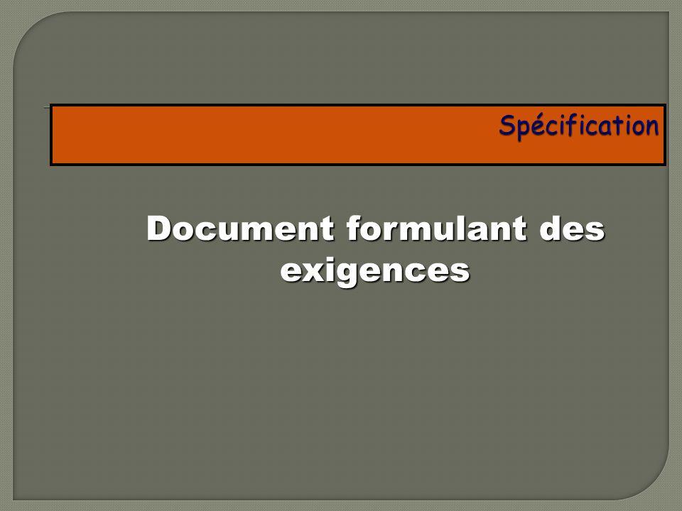 Document formulant des exigences