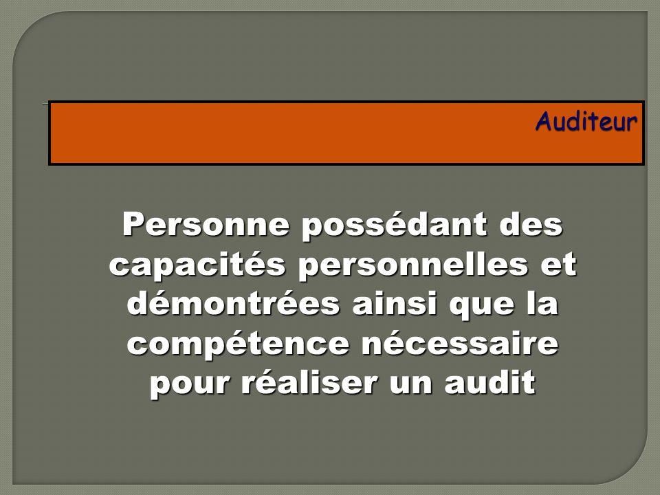 Auditeur Personne possédant des capacités personnelles et démontrées ainsi que la compétence nécessaire pour réaliser un audit.