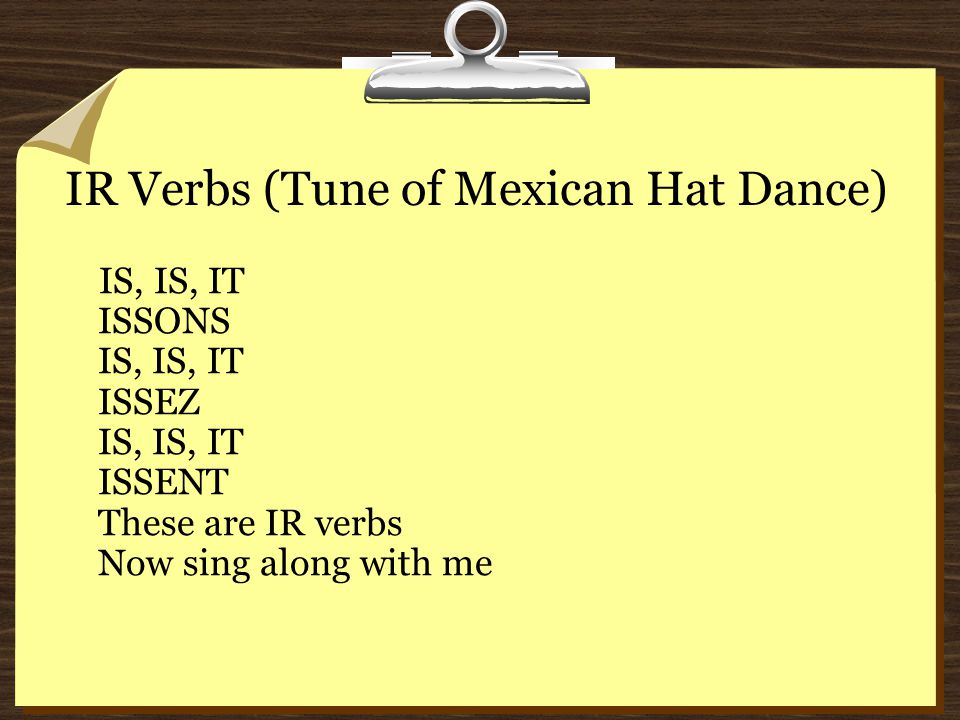 IR Verbs (Tune of Mexican Hat Dance)