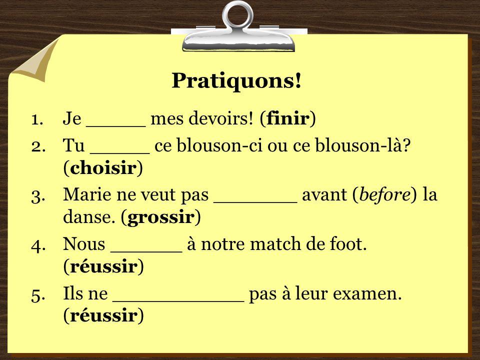 Pratiquons! Je _____ mes devoirs! (finir)