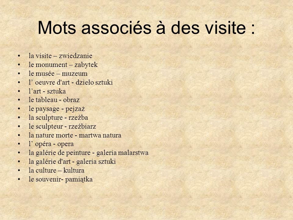 Mots associés à des visite :