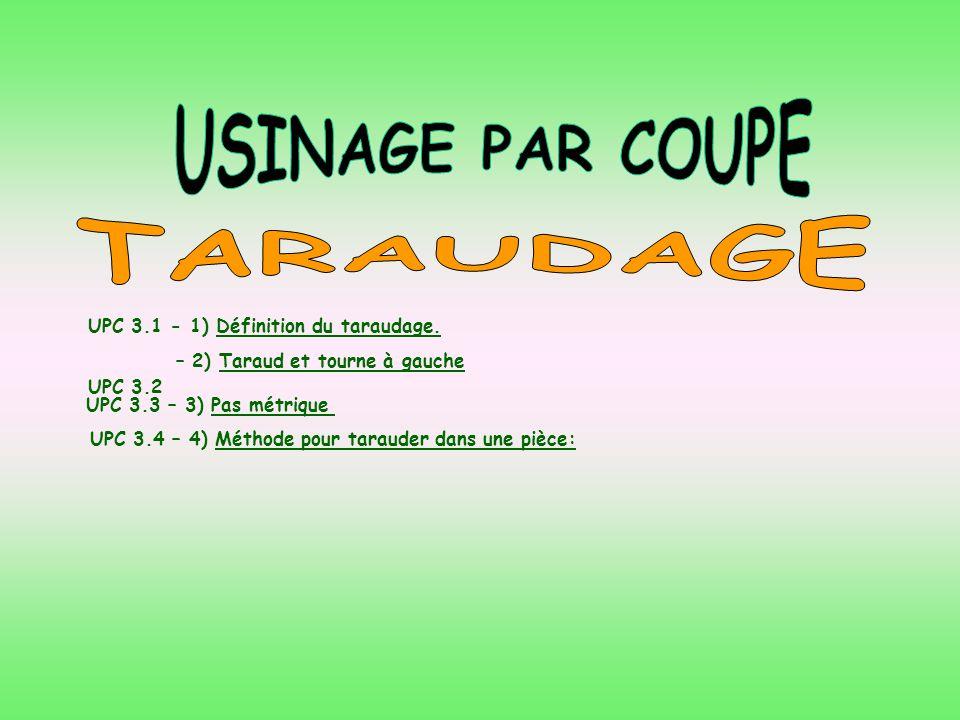 USINAGE PAR COUPE TARAUDAGE – 2) Taraud et tourne à gauche