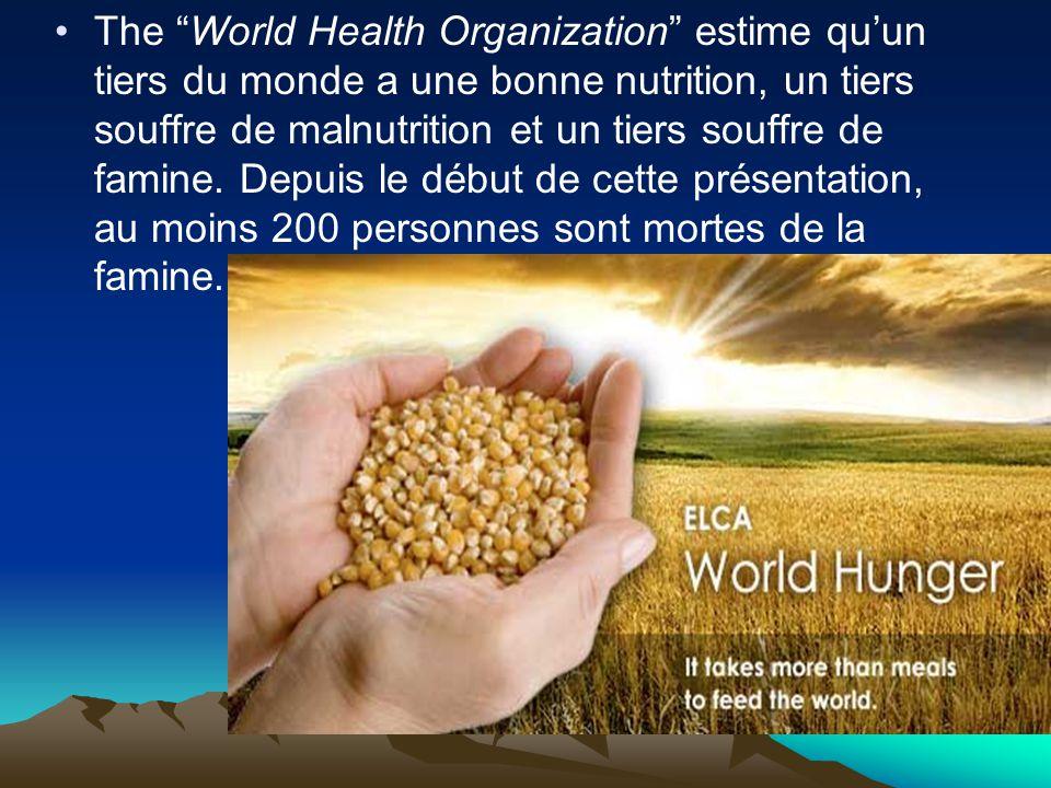 The World Health Organization estime qu'un tiers du monde a une bonne nutrition, un tiers souffre de malnutrition et un tiers souffre de famine.
