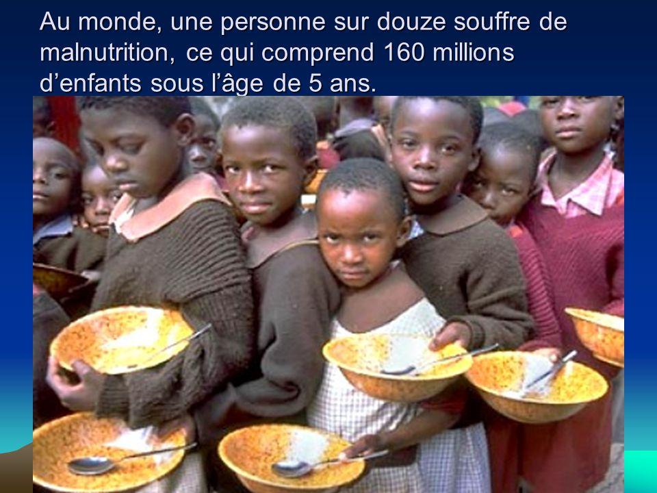 Au monde, une personne sur douze souffre de malnutrition, ce qui comprend 160 millions d'enfants sous l'âge de 5 ans.