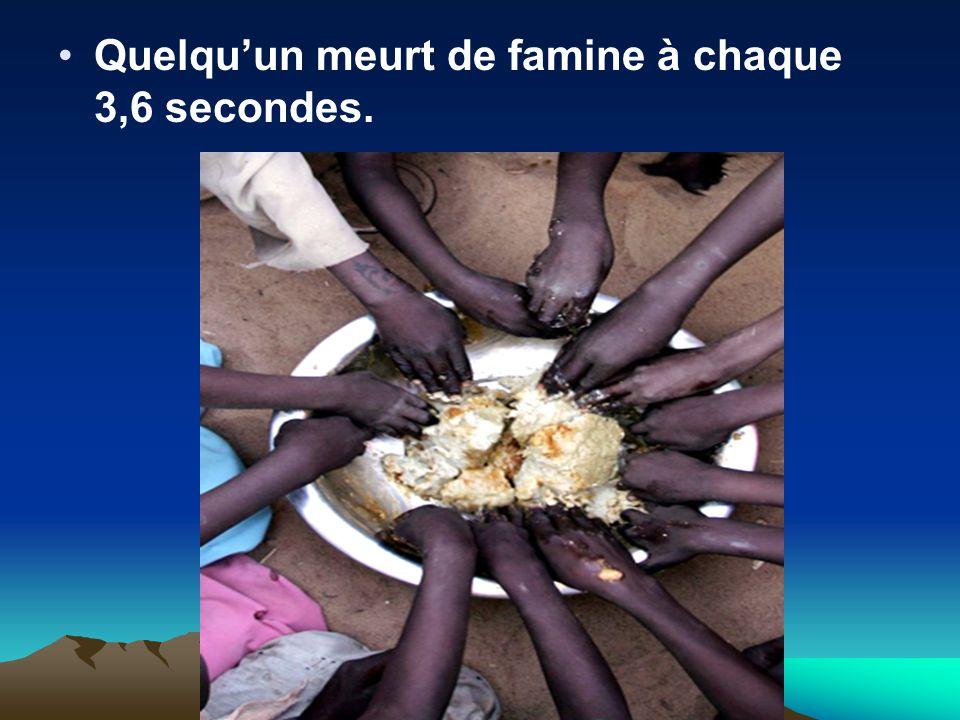 Quelqu'un meurt de famine à chaque 3,6 secondes.