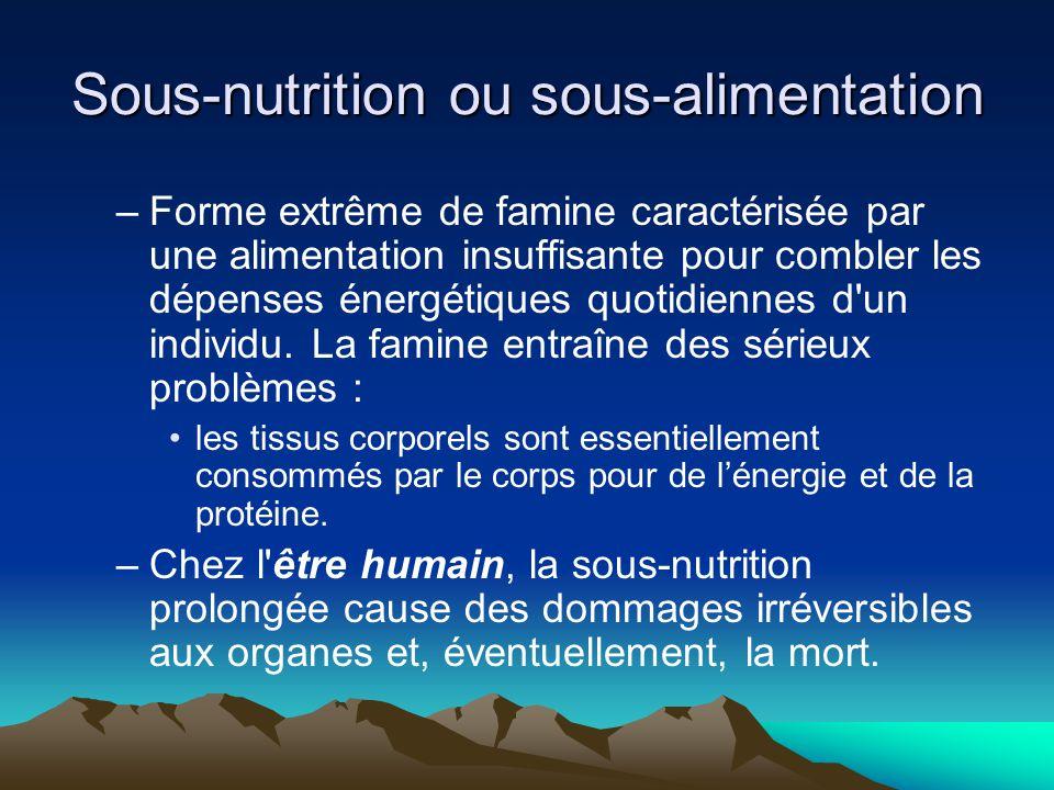 Sous-nutrition ou sous-alimentation