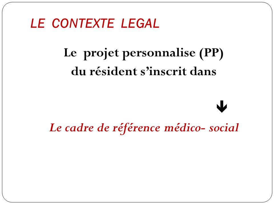 LE CONTEXTE LEGAL Le projet personnalise (PP) du résident s'inscrit dans  Le cadre de référence médico- social