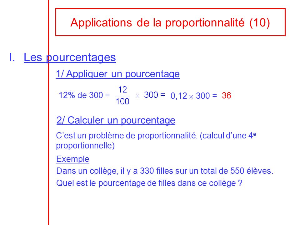Applications de la proportionnalit 10 ppt video for Calcul de pourcentage de pente