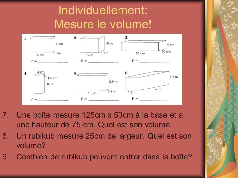 Le volume mesurer et calculer ppt t l charger for Calculer son volume de demenagement