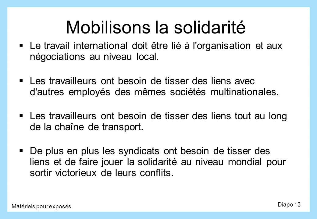 Mobilisons la solidarité