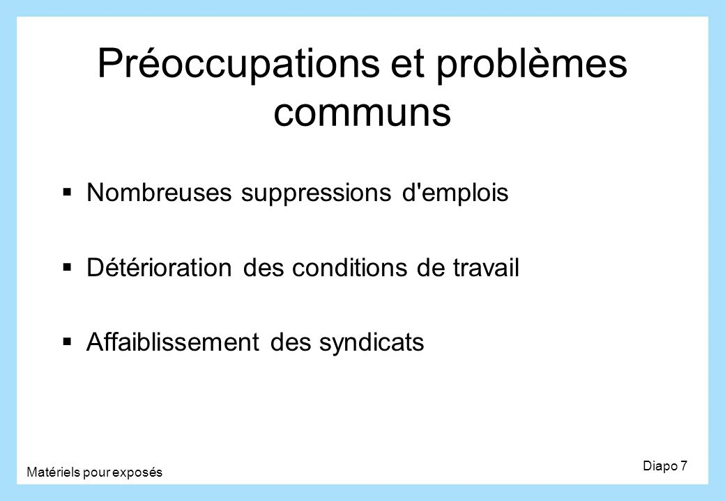 Préoccupations et problèmes communs