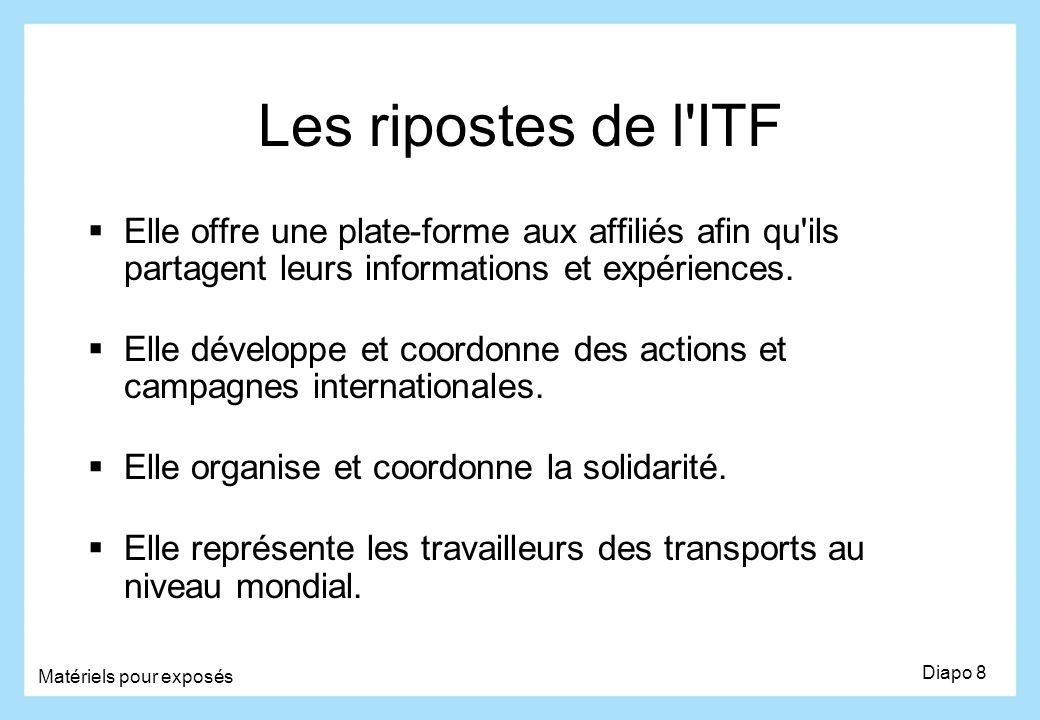 Les ripostes de l ITF Elle offre une plate-forme aux affiliés afin qu ils partagent leurs informations et expériences.