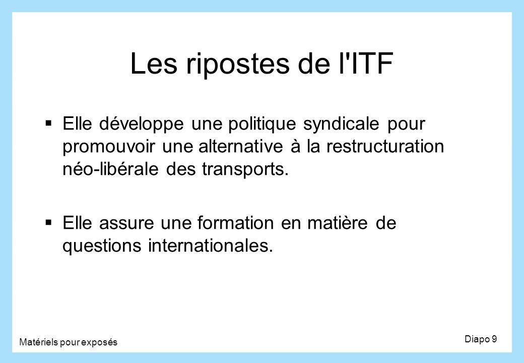 Les ripostes de l ITF Elle développe une politique syndicale pour promouvoir une alternative à la restructuration néo-libérale des transports.