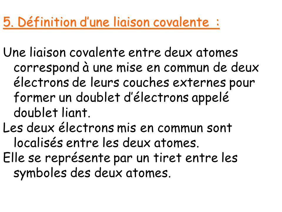 5. Définition d'une liaison covalente :