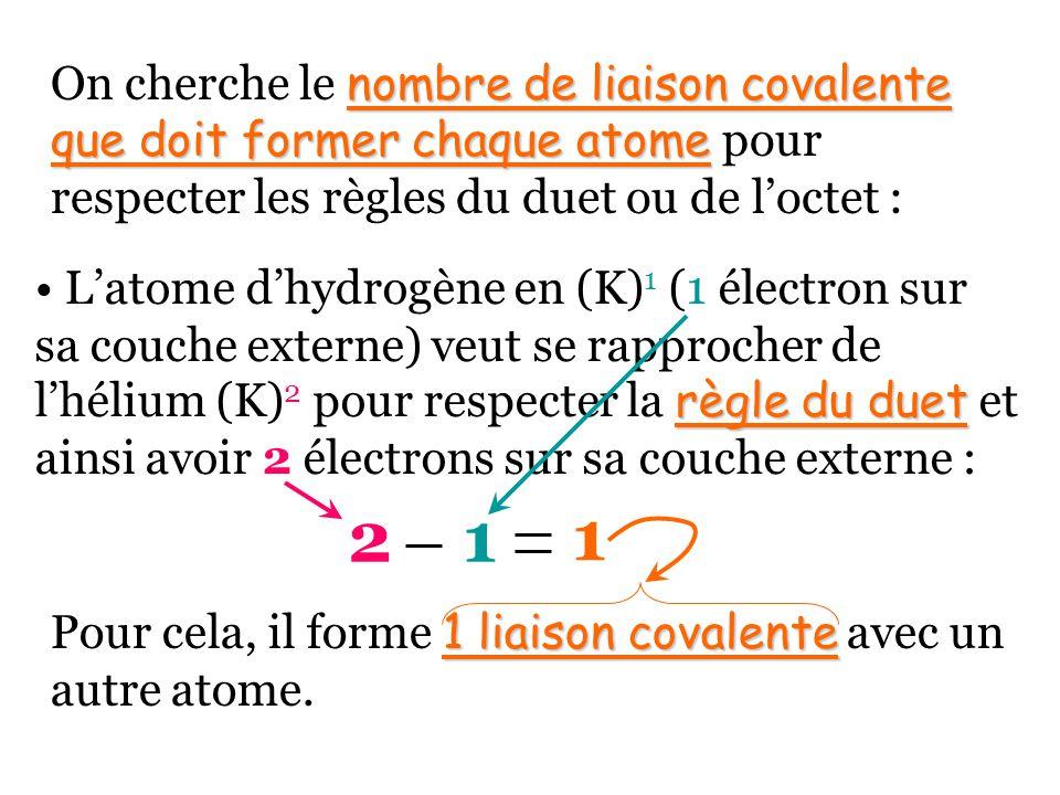 On cherche le nombre de liaison covalente que doit former chaque atome pour respecter les règles du duet ou de l'octet :