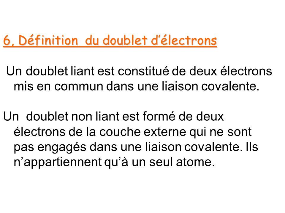 6, Définition du doublet d'électrons