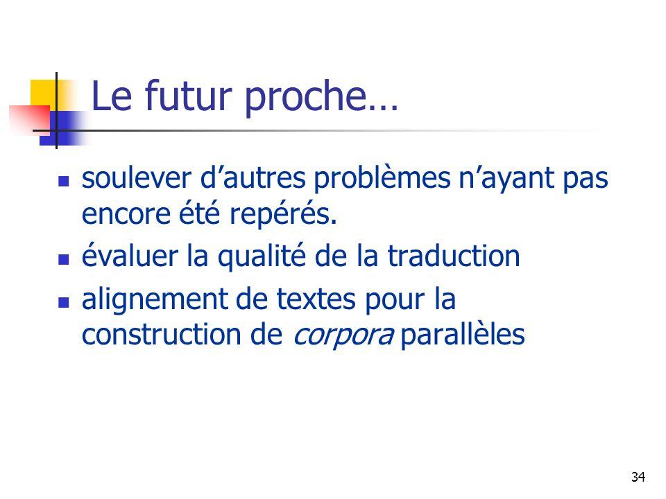 Le futur proche… soulever d'autres problèmes n'ayant pas encore été repérés. évaluer la qualité de la traduction.