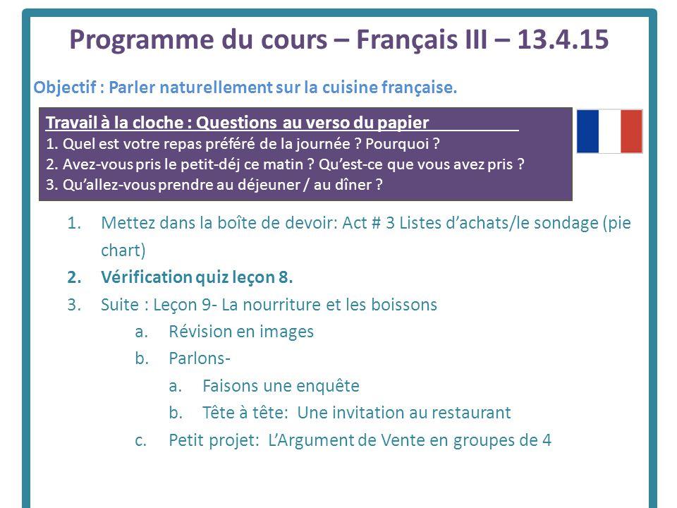 Programme du cours fran ais iii ppt t l charger - Qu est ce que la cuisine moleculaire ...