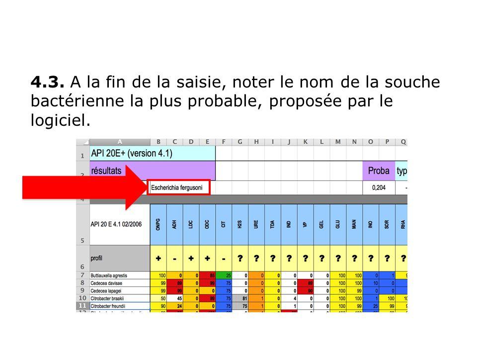 4.3. A la fin de la saisie, noter le nom de la souche bactérienne la plus probable, proposée par le logiciel.