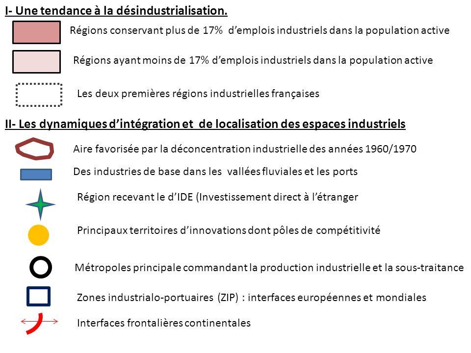 I- Une tendance à la désindustrialisation.