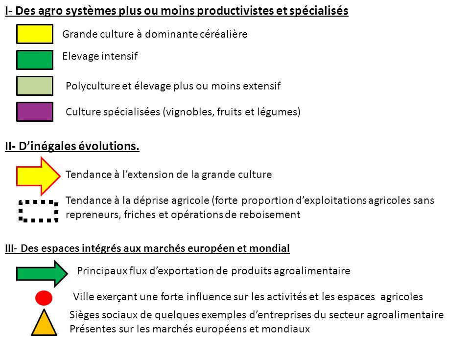 I- Des agro systèmes plus ou moins productivistes et spécialisés