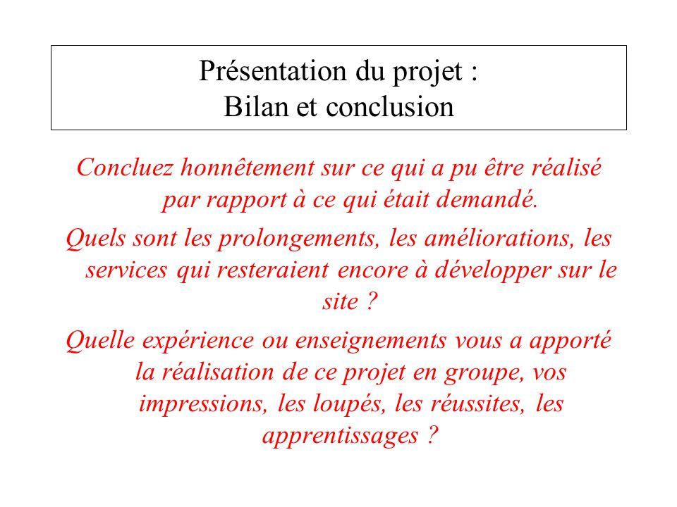 Présentation du projet : Bilan et conclusion