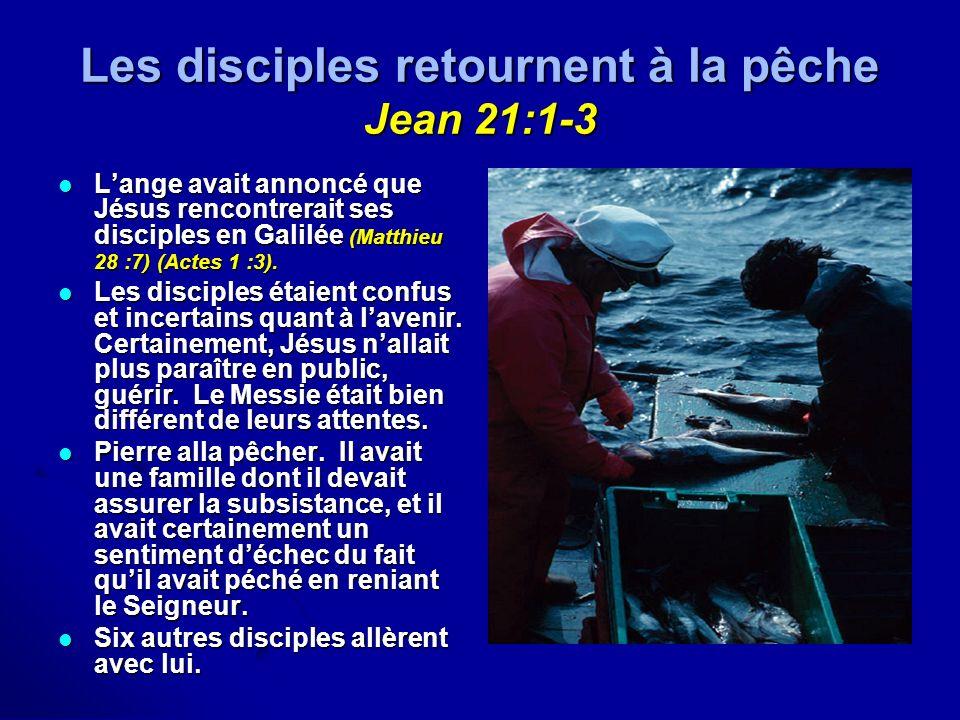 Les disciples retournent à la pêche Jean 21:1-3