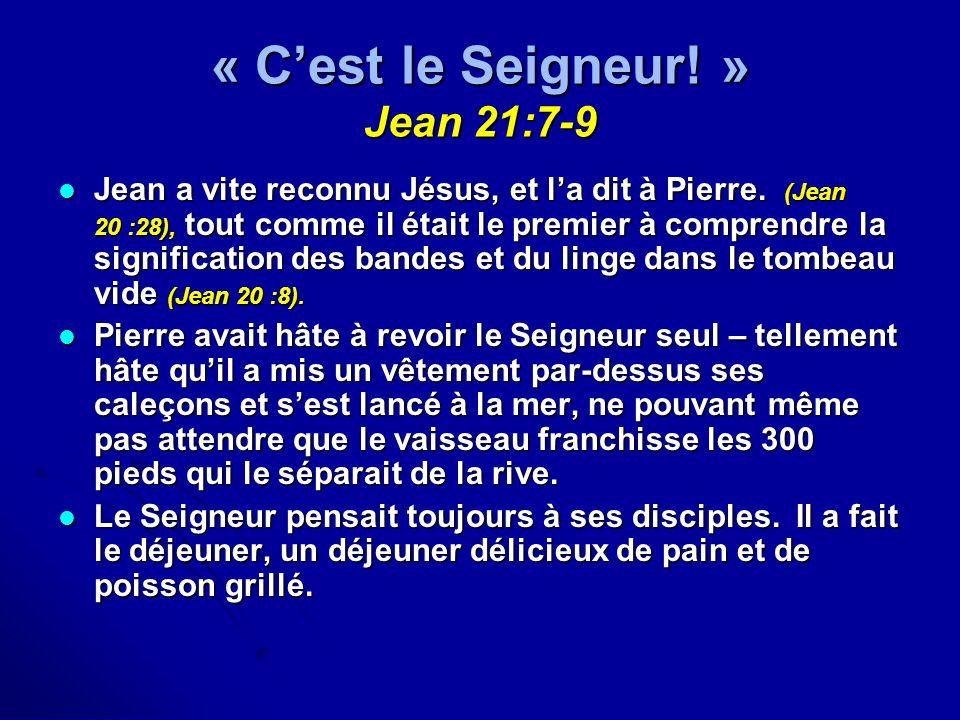 « C'est le Seigneur! » Jean 21:7-9