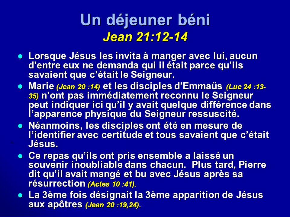 Un déjeuner béni Jean 21:12-14