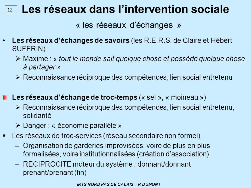 Les réseaux dans l'intervention sociale « les réseaux d'échanges »