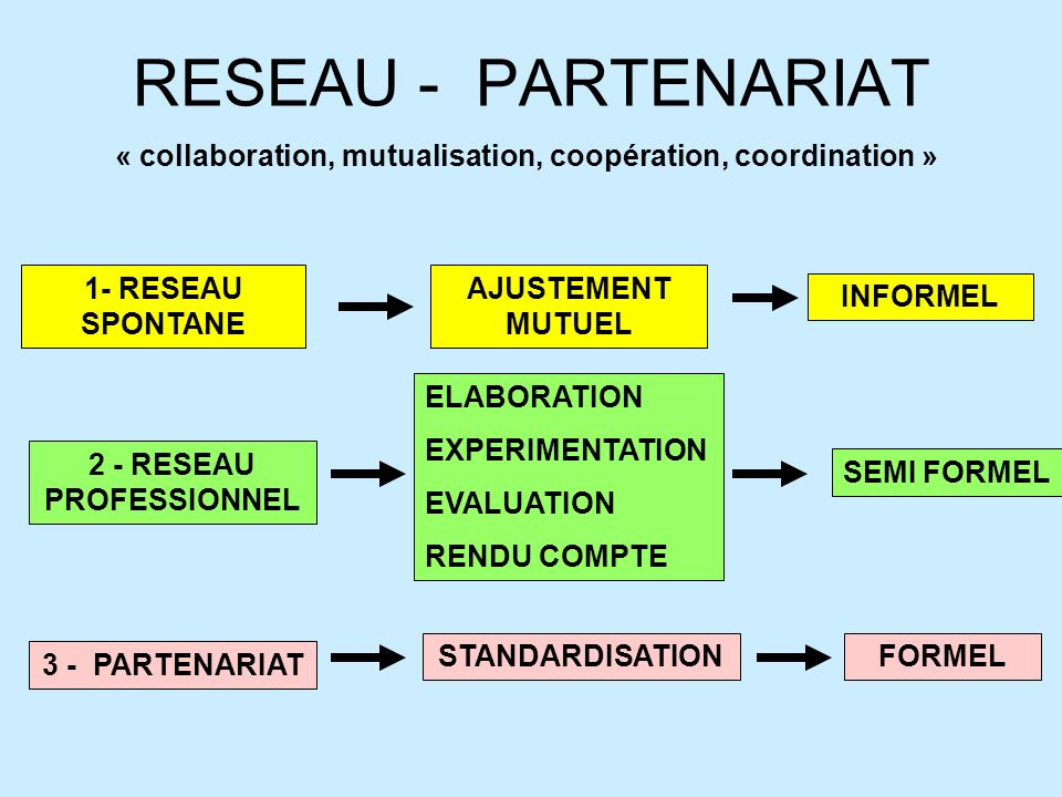 RESEAU - PARTENARIAT« collaboration, mutualisation, coopération, coordination » 1- RESEAU SPONTANE.