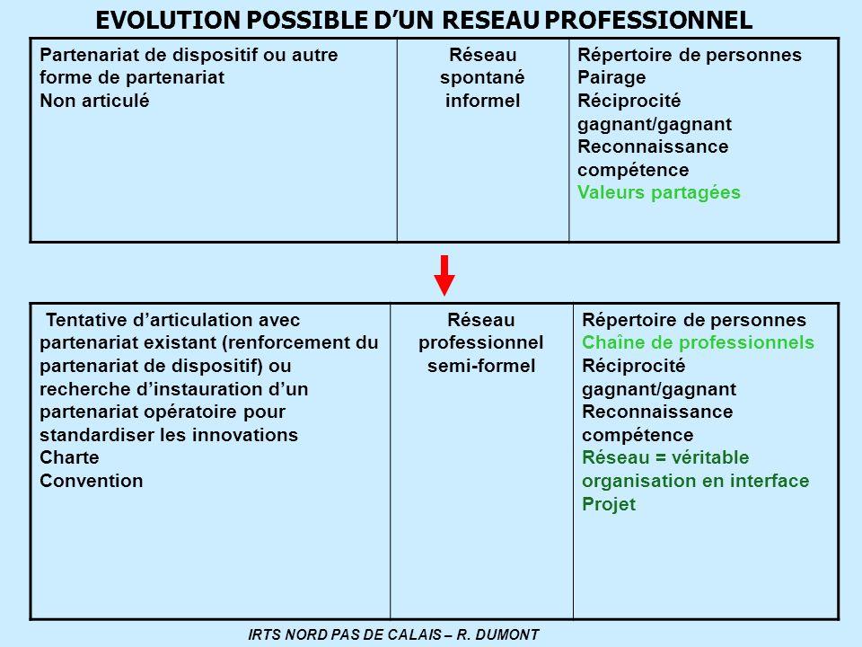 Réseau spontané informel IRTS NORD PAS DE CALAIS – R. DUMONT