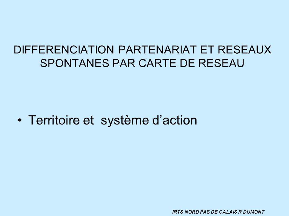 DIFFERENCIATION PARTENARIAT ET RESEAUX SPONTANES PAR CARTE DE RESEAU