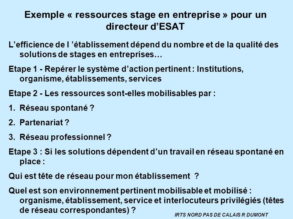 Exemple « ressources stage en entreprise » pour un directeur d'ESAT