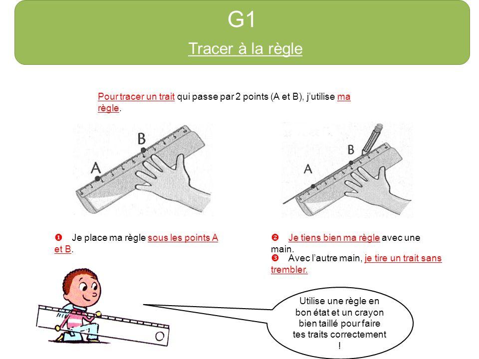 G1 Tracer à la règle. http://azert6.eklablog.com/ Pour tracer un trait qui passe par 2 points (A et B), j'utilise ma règle.